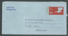 ! - 1980 - Aerogamme - De Inde ( Poona)  Vers Belgique (Esneux) - India