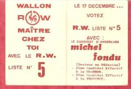 1979 - Le 17 Décembre ... Votez R.W. Liste N°5 - Michel FONDU ( Anderlues) - Calendriers