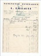 Facture , Monuments Funéraires , L. PILLAULT , Mirebeau , Vienne , 1951 - Invoices & Commercial Documents