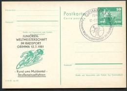 CYCLING Grimma 1981 East German Postal Card Special Print P79-28a-81 C161-a - Cyclisme