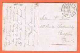 1919 Noodstempel Brugge 14 Op Portvrije Kaart Militaire Dienst - Postmark Collection