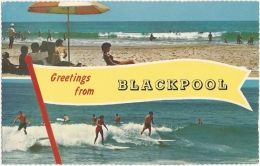 GB - La - Greetings From Blackpool - Multiview (2 : Beach - Surf) - The Photographic Greetings Card Co. Ltd. N° 1034 - Blackpool