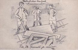 AK Verunglückter Transport - P. Wandslebe - Feldpost - Feld-Rekr. Depot 24. Inf. Div. 4. Komp. - 1917 (14668) - Humor