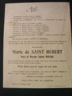 Faire Part De Deces Marie De Saint Hubert Decedee A Dinant 1932 - Avvisi Di Necrologio