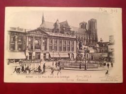 51 Marne  REIMS Place Royale Et La Cathedrale + Cad Gare - Reims