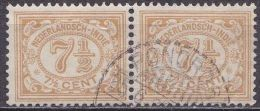 Ned. Indië: Langebalkstempel PONOROGO Op Paartje 1912-1930 Cijferserie 7½  Cent  Grijsbruin NVPH 113 - Indes Néerlandaises