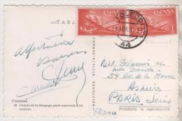 ESPAGNE 1956 - CHRISTOPHE COLOMB ET AVIONS POUR LA FRANCE ( CARTE SINAGOGUE DE CORDOBA ) VOIR LES SCANNERS - 1951-60 Briefe U. Dokumente
