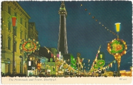 GB - La - The Promenade And Tower, Blackpool -  Bamforth & Co Ltd. N° ET 4307 - [Illuminations] - Blackpool