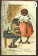 HUMOUR - COUPLE NOIR - CARTE EN RELIEF - PRÄGE KARTE - EMBOSSED CARD - TB - Humour