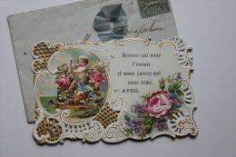 CPA - Jolie Carte Découpée, Ajourée, Découpi Rapporté Fleur Tissu 1er Avril - Fancy Cards