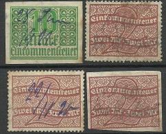 DEUTSCHLAND 1911-1920 Einkommensteuer, 4 Marken O - Duitsland