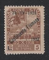 """FIUME - TERRITORI ANNESSI E OCCUPATI - 1922 VAL. NUOVO STL DA L. 5 SOPRASTAMPATO """" 24-IV-1921 COSTITUENTE FIUMANA 1922"""" - Fiume"""