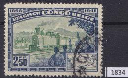 BELGIAN CONGO 1948; Mi: 289; USED; 50th Anniversary Of Railway Service In Congo, Railroad Map, Train - Congo Belga