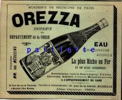 Corse Eau Orezza Marseille Joliette 16x12 Cm 1935 Pub Ancienne Issu D´un Magasine De Cette Année Là - Vieux Papiers