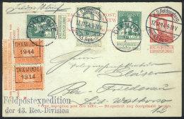 POSTKAART KD FELDPOST EXPEDITION der 43 Res. Division - Albert I, Heraldieke Leeuw - PREO DIXMUDE 1914 in paar