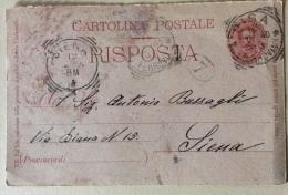 Cartolina Postale Risposta Del 1900 Timbri Siena - Pisa - Poste & Postini