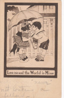 VALENTINE´S DAY; Love Me And The World Is Mine, Children Couple Kissing Under An Umbrella, PU-1909 - Valentine's Day
