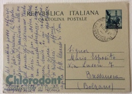 Cartolina Postale Pubbl.ta' Chlorodont Spedita Il 27/08/1952 - Postal Services