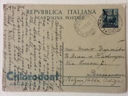 Cartolina Postale Pubbl.ta' Chlorodont Spedita Il 09/09/1952 Timbro Laveno Mombello - Poste & Postini