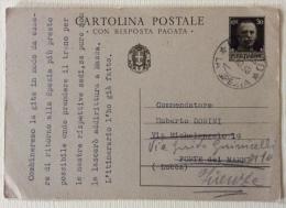 Cartolina Postale Con Risposta Pagata Spedita Il 5 Ottobre 1938 Timbro La Spezia - Poste & Postini