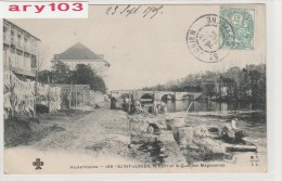 87 -Hte.Viene _Saint -Junien_ le pont ,quai des  M�ssageries ( s�chages des peaux  ageaux ,Chevreaux )
