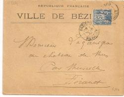 REPUBLIQUE FRANCAISE, VILLE DE BEZIER Hérault  Sur Enveloppe SAGE. - Marcophilie (Lettres)