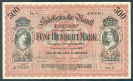 Deutschland, Germany, Sächsische Bank - 500 Mark,  ( Ro.: SAX 9 A, LIT. L., Ser. II ) XF, 1911 ! - [ 2] 1871-1918 : Impero Tedesco