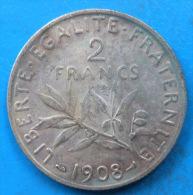 PETIT PRIX 2 francs semeuse argent 1908