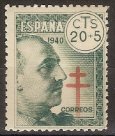 España 0937 ** Tuberculosos. Franco. 1940 - 1931-50 Ungebraucht