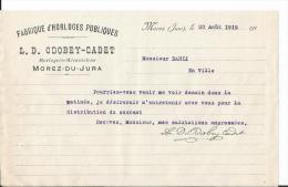 Vieux Papier - Lettre - L.D Odobey- Cadet - Horlogers Mécaniciens - Morez Du Jura - Fabrique Horloges Publiques - Unclassified