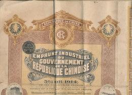 1 *- EMPRUNT INDUSTRIEL DU GOUVERNEMENT DE LA REPUBLIQUE CHINOISE OBLIGATION  DE 500 FRANCS  5% OR 1914 - Asie