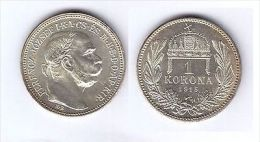 AUSTRIA 1915 1 KORONA SILVER UNC- KM# 2820 - Monnaies
