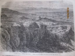 Ile De Crete  Vue Des Monts Blancs Grece      ..   Gravure  De 1867 - Vecchi Documenti