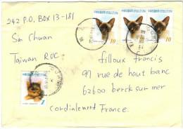 TAIWAN - Republic Of China - 2007 - Cat + Dog - Viaggiata Da Taiwan Per Berck-sur-mer, France - 1945-... Republic Of China