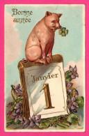 Bonne Année - Cochon Avec Trèfle Sur Calendrier 1er Janvier - Fantaisie - Doré - Embossed - Gaufré - 1909 - Cerdos