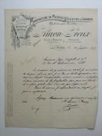 Facture Invoice Litho Manufacture De Meubles Toilettes Lavabos Simon Freux Autun Bourgogne - Petits Métiers