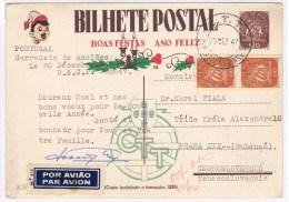 T6. Portugal Entier Postal Privé Ou Repiqué 30 DEC 47. Nouvel An 1948+ Illustration Au Verso. Pour La Tchecoslovaquie.