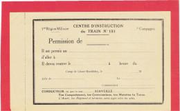 LINAS MONTLHERY PERMISSION DE SORTIE DE CAMP CENTRE INSTRUCTION DU TRAIN 151 ESSONNE - France