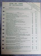FICHE SIMCA ARIANE 4 ET 8 VEDETTE - Auto