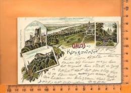 KÖNIGSWINTER: : Lithographie Multi Vues, Gruss, Ruine Drachenfels, Drachenburg, Restaurant , Zahnradbahn - Koenigswinter
