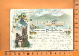 KÖNIGSWINTER: : Lithographie Multi Vues, Gruss, Ruine Drachenfels, - Koenigswinter