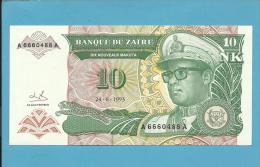 ZAIRE - 10 NOUVEAUX MAKUTA - 24/06/1993 - Pick 49 - Sign. 9  - AUNC. - Mobutu - 2 Scans - Zaire
