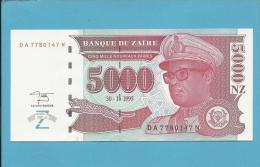 ZAIRE - 5000 NOUVEAUX ZAIRES - 30/01/1995 - Pick 69 - UNC. - Sign. 11 - Mobutu - 2 Scans - Zaïre