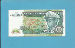 ZAIRE - 50 ZAIRES - 30/06/1988 - Pick 32 - Sign. 7  - UNC. - Mobutu - 2 Scans - Zaïre
