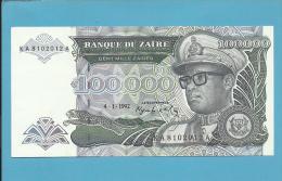 ZAIRE - 100.000 ZAIRES - 04/01/1992 - Pick 41 - UNC. - Sign. 8 - Mobutu - 2 Scans - Zaïre