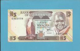 ZAMBIA - 5 KWACHA - ND ( 1984 - 88 ) - Pick 25.c - Sign. 6 - UNC. - President K. KAUNDA - 2 Scans - Zambia