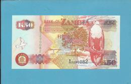 ZAMBIA - 50 KWACHA - 1992 - Pick 37.b - Sign. 11 - Fish Eagle - 2 Scans - Zambia