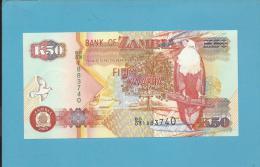 ZAMBIA - 50 KWACHA - 2003 - Pick 37.d - Sign. 12 - Fish Eagle - 2 Scans - Zambie