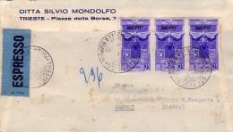 ITALIA   Storia Postale  Trieste  Merito Del Lavoro   Lire 25 X 3  AMG FTT  -    IL  4-  6 - 1953 - 7. Trieste