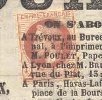 JOURNAL DE TREVOUX  Avec N° 26 2 C Lauré Oblitération Typographique Du 30/08/1868 Rare Utilisation Fiscale Du 2 C TTB - 1849-1876: Periodo Clásico